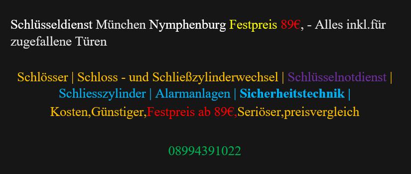Schlüsseldienst  München Nymphenburg kosten festrpreis